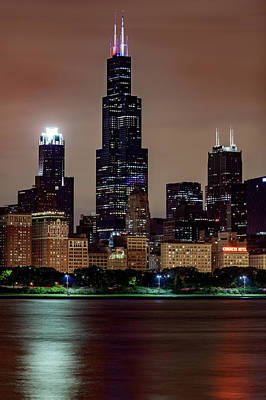 Photograph - Chicago Skyline By Night Detail by Patrice Bilesimo