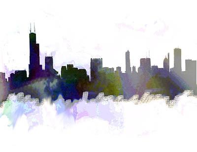 Philadelphia Skyline Painting - Chicago Skyline Color  by Enki Art