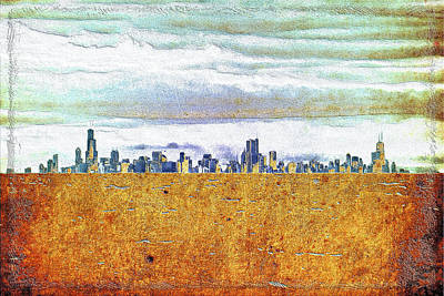 Chicago Skyline Mixed Media - Chicago Skyline by Di Designs
