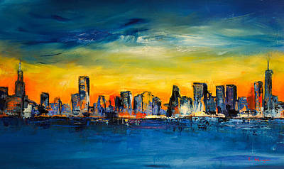 Skylines Paintings - Chicago Skyline by Elise Palmigiani