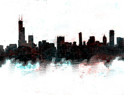 Philadelphia Skyline Painting - Chicago Skyline  by Enki Art