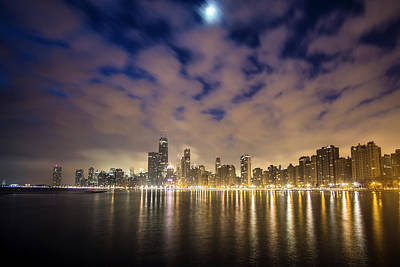 Chicago Skyline, Fog, Moon At Dawn Art Print