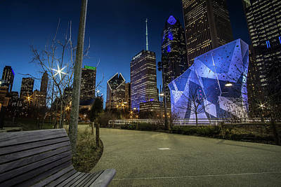Chicago Skyline Form Maggie Daley Park At  Dusk Art Print
