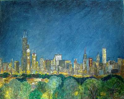 Chicago Skyline Drawing - Chicago Skyline From Comiskey by Jacob Stempky