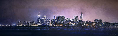 Comic Character Paintings - Chicago Skyline from Evanston by Scott Norris