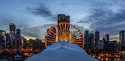 Chicago Skyline From Navy Pier Art Print