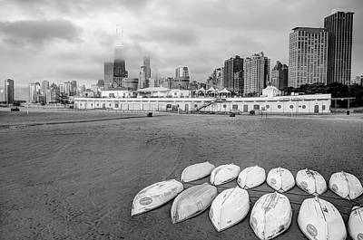 Photograph - Chicago Skyline From The Beach - Black And White by Gregory Ballos