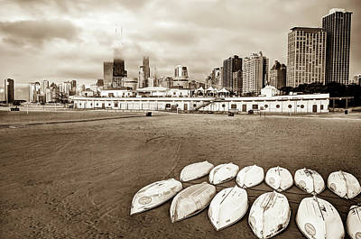 City Scenes Photograph - Chicago Skyline From The Beach - Sepia by Gregory Ballos
