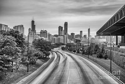 Photograph - Chicago Skyline In Black And White From The Mccormick Place Pedestrian Bridge Over Lake Shore Drive  by Silvio Ligutti