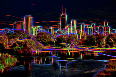 Photograph - Chicago Skyline In Neon by Lev Kaytsner