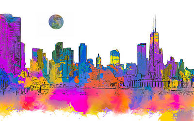 Photograph - Chicago Skyline In Watercolors by Erwin Spinner