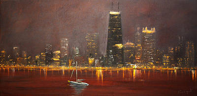 Cityscape Painting - Chicago Skyline by Ken Figurski