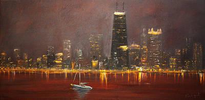 Illinois Painting - Chicago Skyline by Ken Figurski