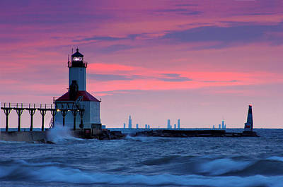 Chicago Skyline Lighthouse Print by Jackie Novak