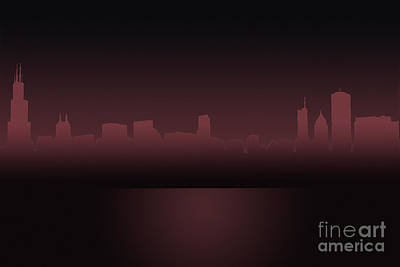 Photograph - Chicago Skyline Mauve Outline by Andrea Silies