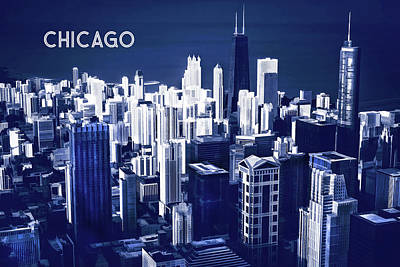 Chicago Skyline Midnight Blue Quadtone Text Chicago Art Print by Elaine Plesser