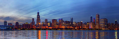 Crowd Scene Photograph - Chicago Skyline Night, Lake Michigan, Chicago, Cook County, Illinois, Usa by Panoramic Images