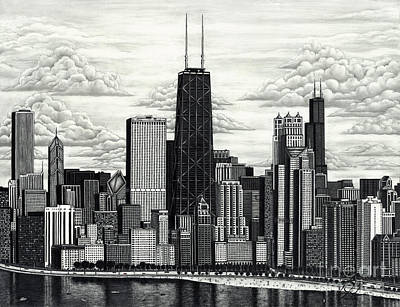 Drawing - I Love Chicago Volume 1 by Omoro Rahim