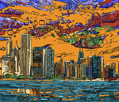 Skylines Paintings - Chicago Skyline Panorama 2 by Bekim Art