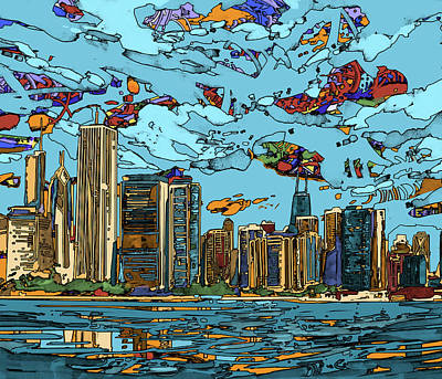 Digital Art - Chicago Skyline Panorama by Bekim Art