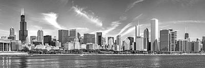 Chicago Skyline Photograph - Chicago Skyline Panorama Black And White by Christopher Arndt