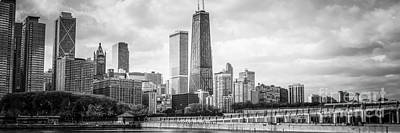 Hancock Building Wall Art - Photograph - Chicago Skyline Panorama Black And White Photo by Paul Velgos