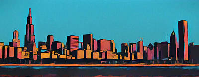 Chicago Skyline Mixed Media - Chicago Skyline Pop Art Panorama by Dan Sproul