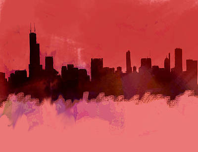 Philadelphia Skyline Painting - Chicago Skyline Red 2  by Enki Art