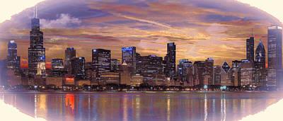 Digital Art - Chicago Skyline by Rod Jellison