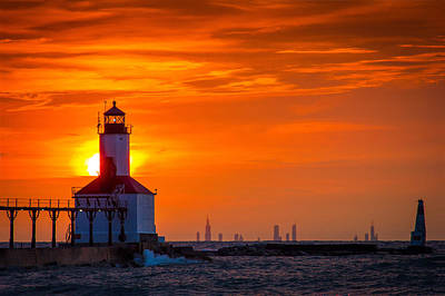 Washington Indiana Photograph - Chicago Skyline Seen From Michigan City by Jackie Novak