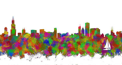 Abstract Skyline Digital Art Rights Managed Images - Chicago Skyline Silhouette I Royalty-Free Image by Ricky Barnard