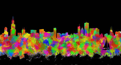 Abstract Skyline Digital Art Rights Managed Images - Chicago Skyline Silhouette II Royalty-Free Image by Ricky Barnard