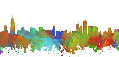 Abstract Skyline Digital Art Rights Managed Images - Chicago Skyline Silhouette III Royalty-Free Image by Ricky Barnard