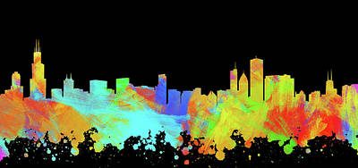 Abstract Skyline Digital Art Rights Managed Images - Chicago Skyline Silhouette IV Royalty-Free Image by Ricky Barnard
