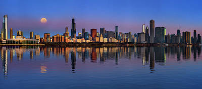 Photograph - Chicago Skyline Sunrise And Moonset by Justin Kelefas