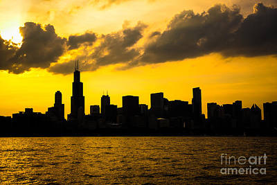 City Scenes Royalty-Free and Rights-Managed Images - Chicago Skyline Sunset Silhouette by Paul Velgos