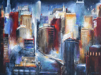 Chicago At Night Painting - Chicago Skyline - The Chicago River by Kathleen Patrick