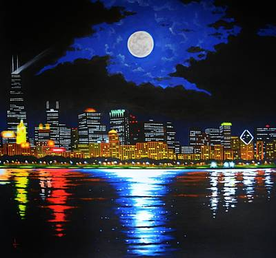 Painting - Chicago Skyline by Thomas Kolendra