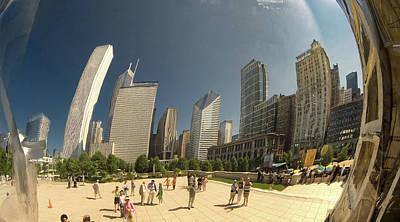 Photograph - Chicago Skyline Thru The Bean by Michael Bessler