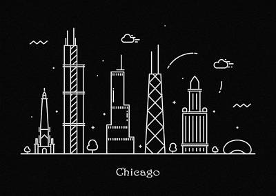 Sears Tower Drawing - Chicago Skyline Travel Poster by Inspirowl Design