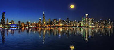 Photograph - Chicago Skyline Under Full Moon At Night by Justin Kelefas