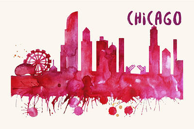 Painting - Chicago Skyline Watercolor Poster - Cityscape Painting Artwork by Beautify My Walls