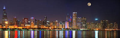 Chicago Skyline With Cubs World Series Lights Night, Moonrise, Chicago, Cook County, Illinois, Usa Art Print