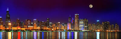 Chicago Skyline With Cubs World Series Lights Night, Moonrise, Lake Michigan, Chicago, Illinois Art Print