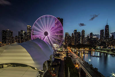 Chicago Skyline With New Ferris Wheel At Dusk Print by Sven Brogren