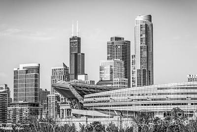 City Scenes Royalty-Free and Rights-Managed Images - Chicago Skyline with Soldier Field and Willis Tower  by Paul Velgos
