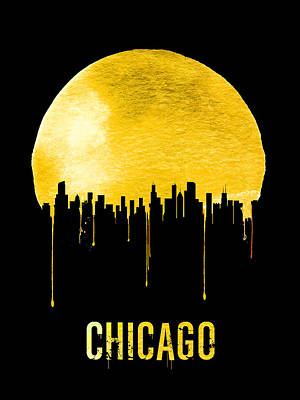 Chicago Skyline Digital Art - Chicago Skyline Yellow by Naxart Studio
