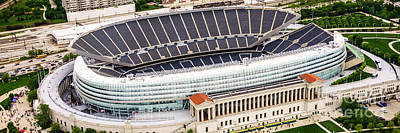 Soldier Field Photograph - Chicago Soldier Field Aerial Photo by Paul Velgos