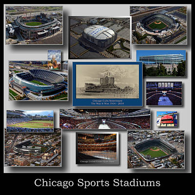Wrigley Field Mixed Media - Chicago Sports Collage 03 Grey by Thomas Woolworth
