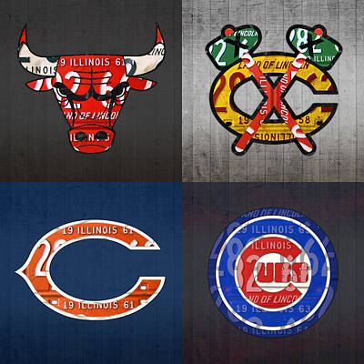 Chicago Sports Fan Recycled Vintage Illinois License Plate Art Bulls Blackhawks Bears And Cubs Art Print by Design Turnpike
